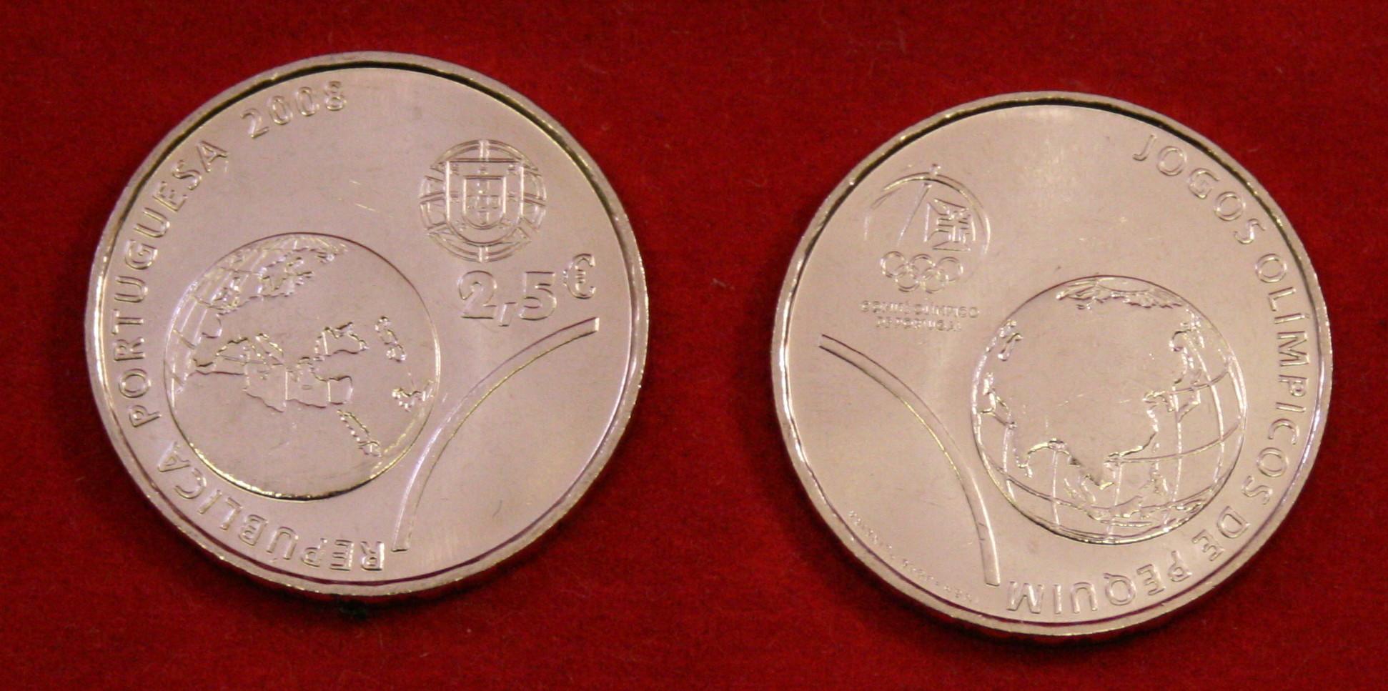 250 Euro Münze Portugal 2008 Olympische Sommerspiele Peking Unc